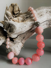 Necklace with large pink hollow glass beads and glass pearls