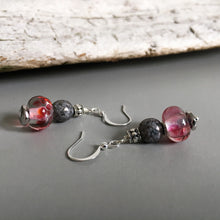 Vintage style earrings, handmade from rubino glass with grey accent.