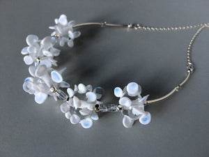 Pure white and silver necklace from handmade murano glass beads