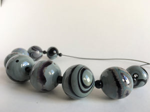 Modern hollow beads necklace in classy grey, handmade