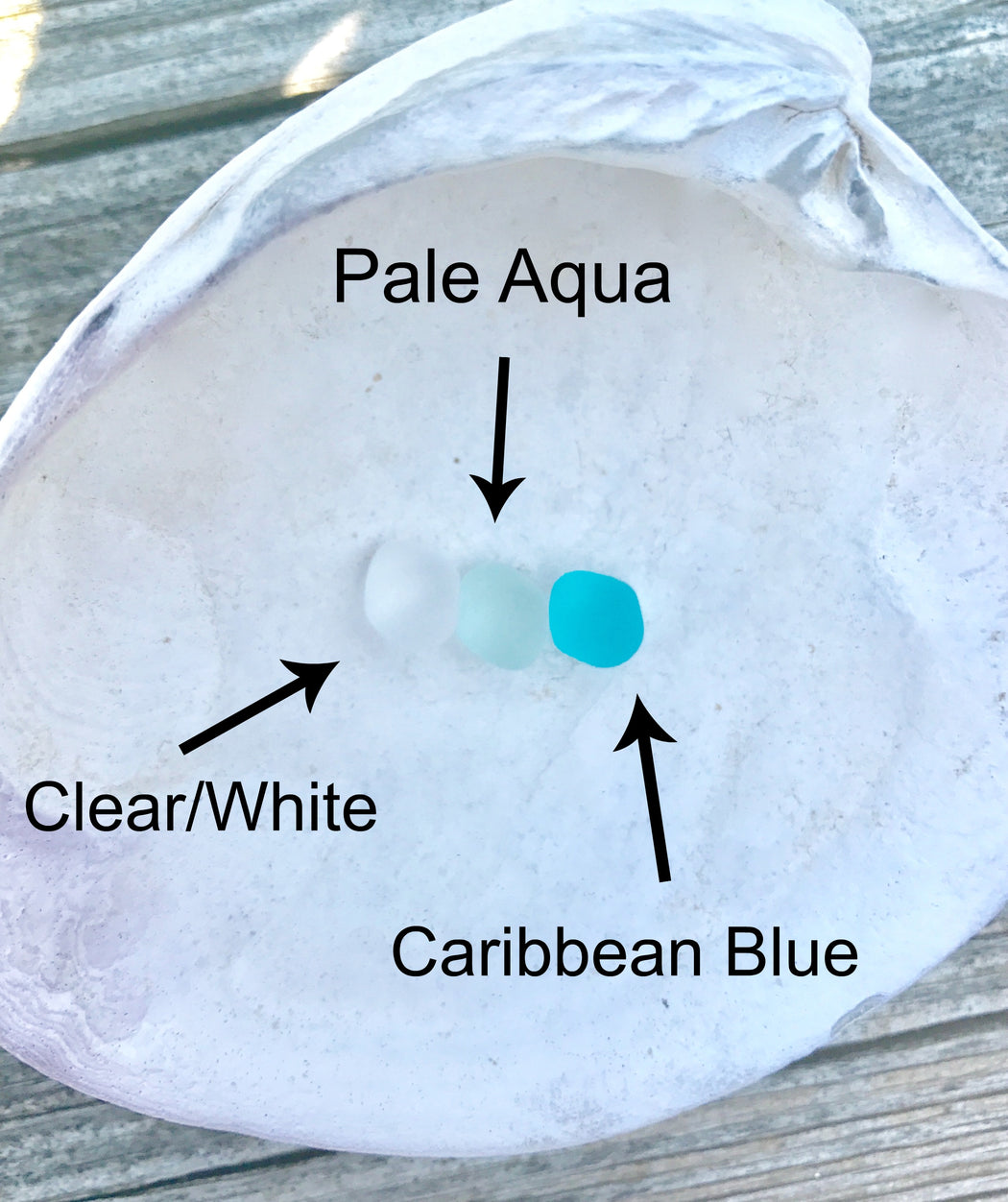 pale aqua clear white and Caribbean blue sea glass options