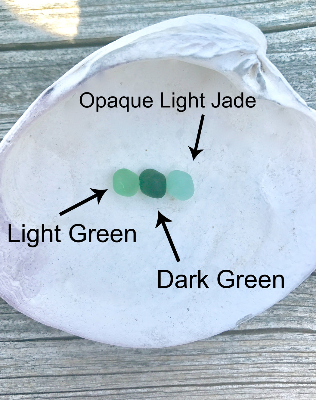 light green, dark green, and opaque light jade sea glass color options