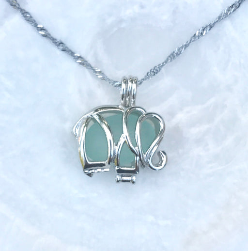 Pale Aqua Sea Glass Elephant Locket Necklace by Wave of Life