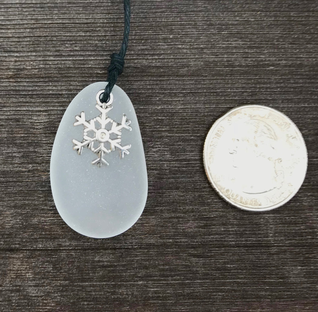 Frost the Zebra White and Black Sea Glass Necklace by Wave of Life