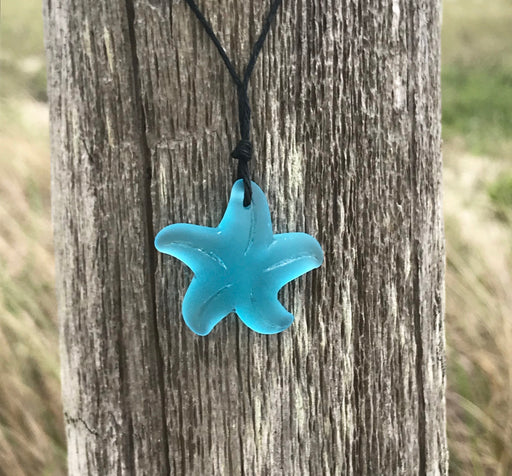 Starfish Sea Glass Necklace  Beach Boho Chic by Wave of Life
