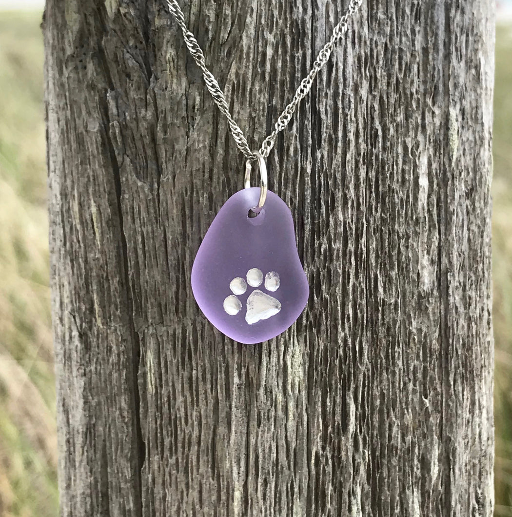 Paw Print Necklace Carved with Silver by Wave of Life