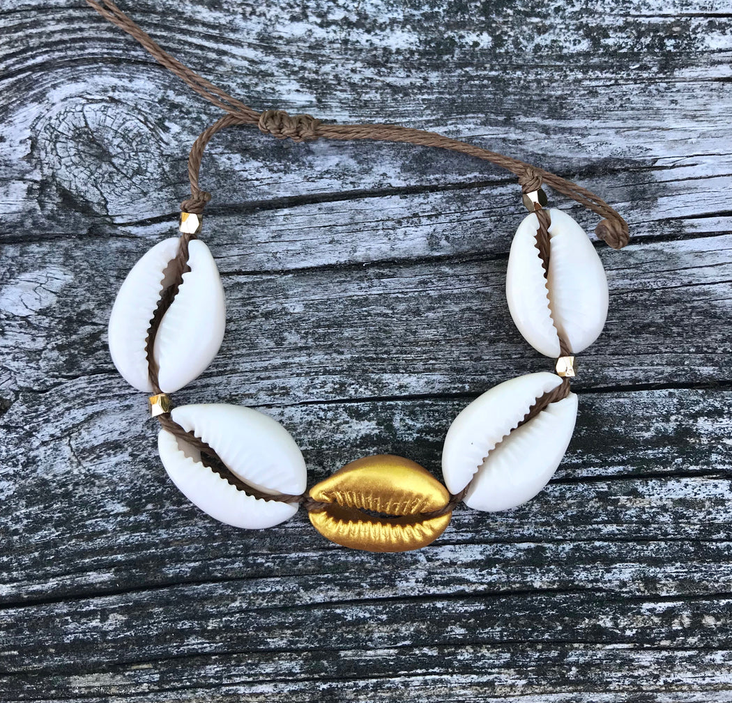 Cowrie Shell Puka Shell Bracelet with Gold Accent by Wave of Life