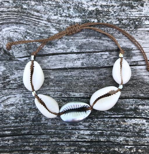 of Cowrie Shell Puka Shell Bracelet with Silver Accent by Wave of Life