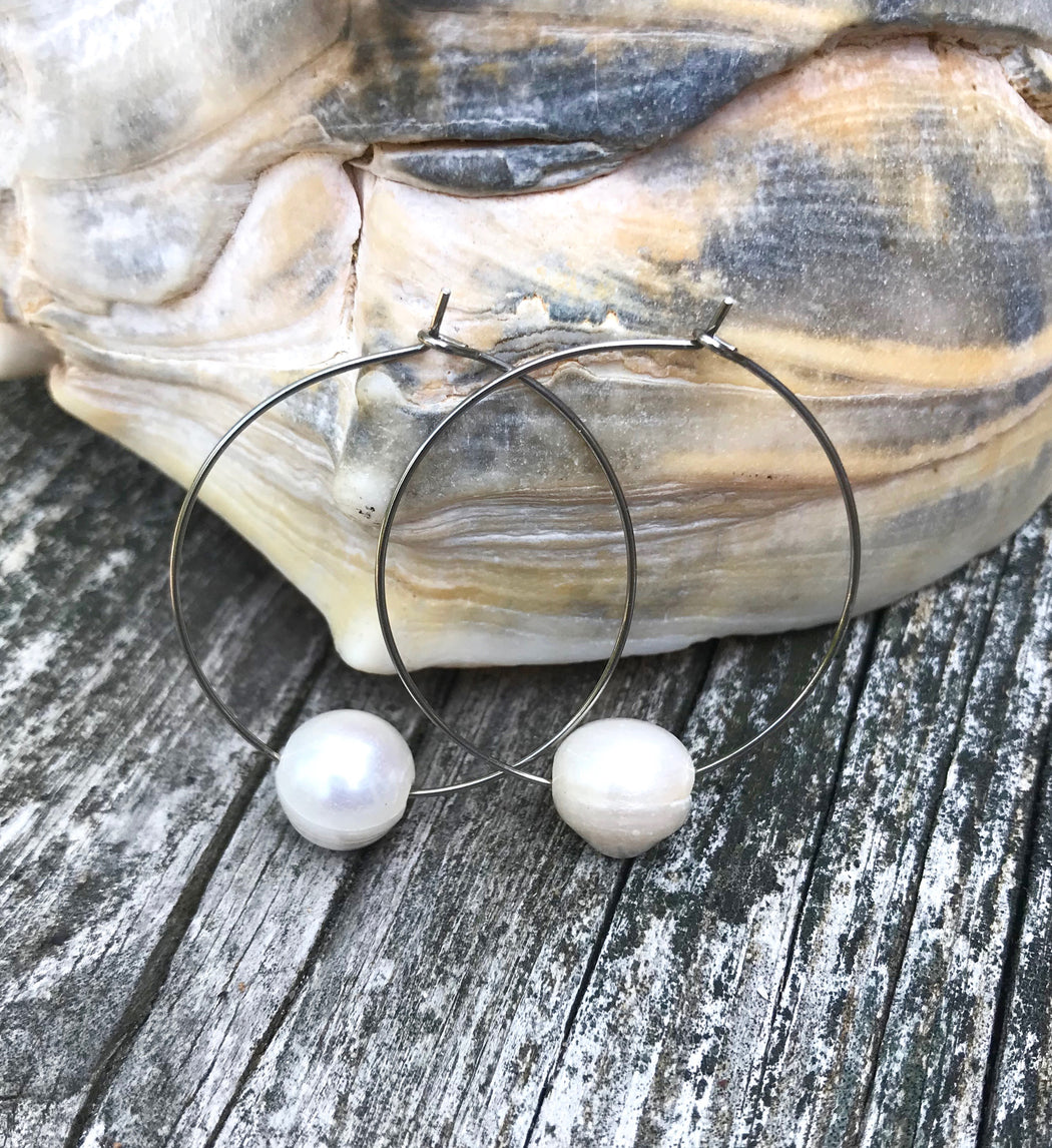 Fresh Water Pearl Large Hoop Earrings