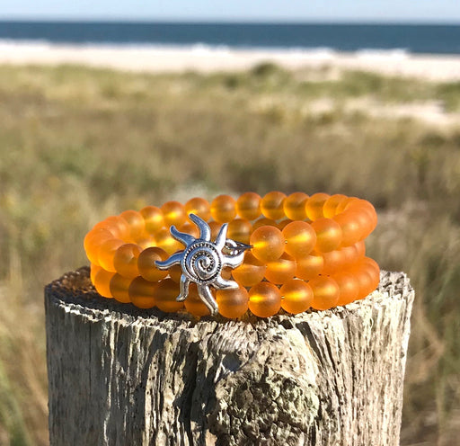 Sunflower Yellow Tumbled Sea Glass Beads Wrap Bracelet with Funky Sun Charm by Wave of Life