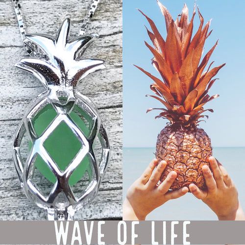 Pineapple Sea Glass Necklace Locket Necklace in Green by Wave of Life