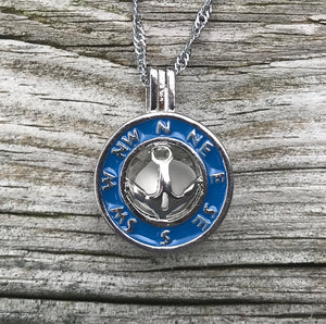 Compass Locket Necklace with Sea Glass by Wave of Life
