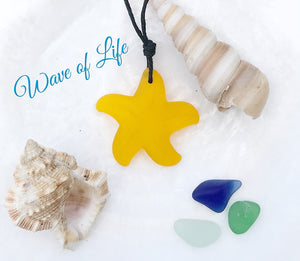 Starfish Sea Glass Necklace Saffron Sunflower Yellow Beach Boho Chic by Wave of Life