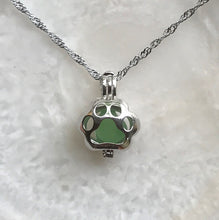 Paw Print Locket Sea Glass Necklace by Wave of Life