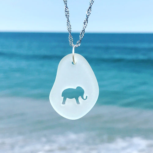 Sea Glass Elephant Necklace Carved by Wave of Life