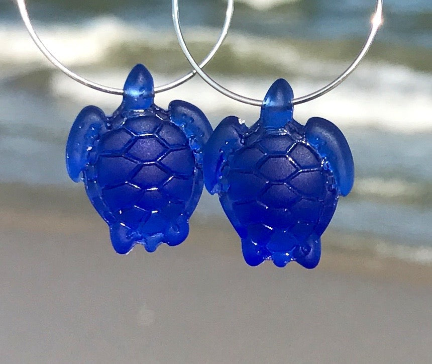 Sea Turtle Honu Sea Glass Frosted Hoop Earrings by Wave of Life