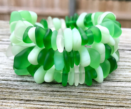 Fields of Green Sea Glass Wrap Bracelet by Wave of Life