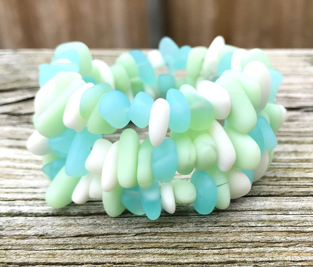 Opaque Pastels Sea Glass Wrap Bracelet Milk Glass by Wave of Life