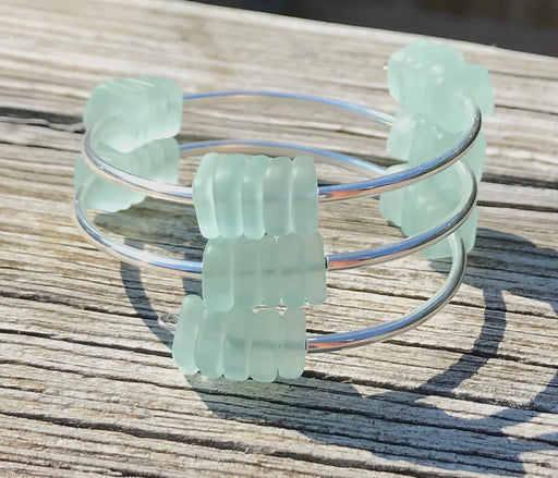 Modern Squared off Pale Aqua Sea Glass Silver Tubing Wrap Bracelet by Wave of Life