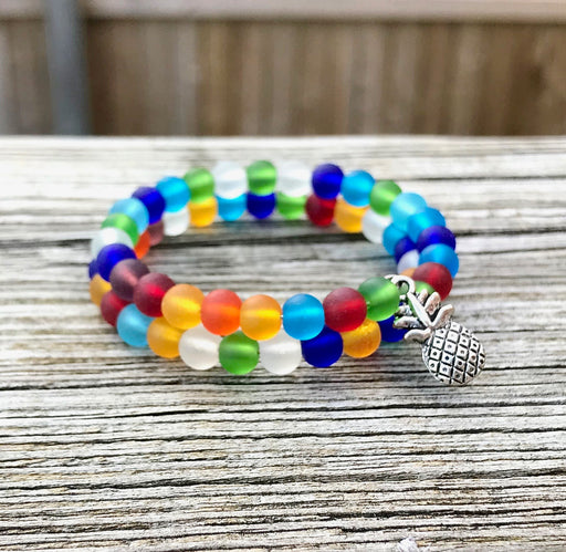 Multicolored Tumbled Sea Glass Beads Wrap Bracelet with Pineapple Charm by Wave of Life