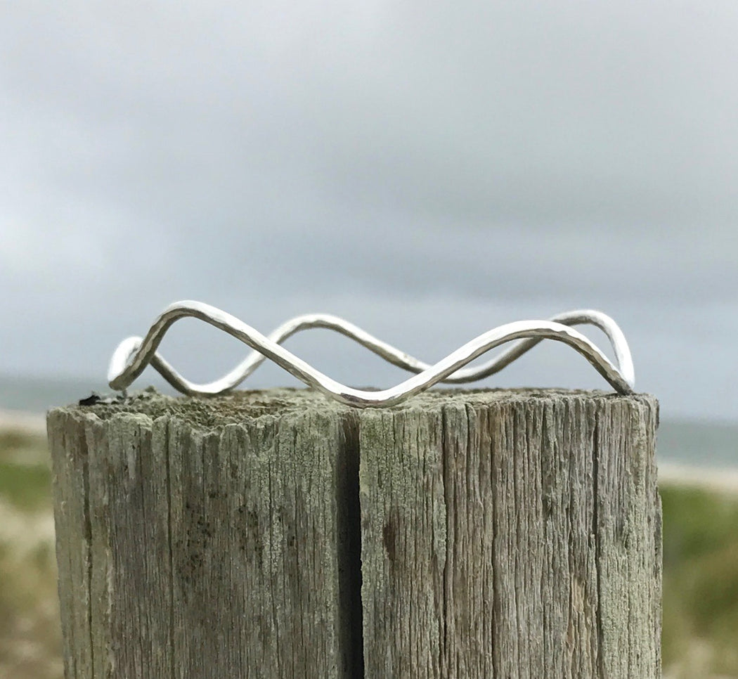 Sterling Silver Calm Seas Bangle Bracelet by Wave of Life