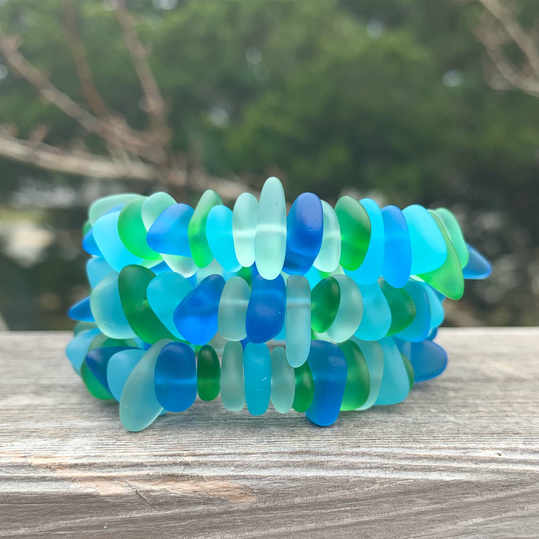 Blues and Greens Sea Glass Wrap Bracelet by Wave of Life