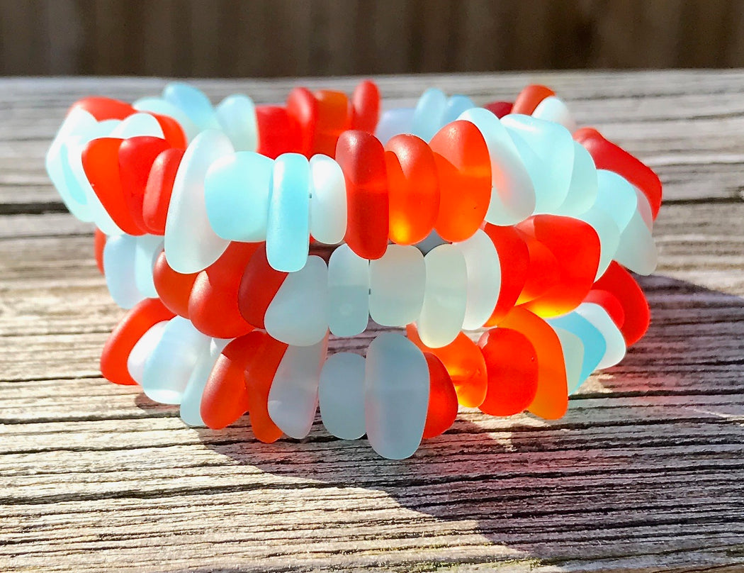 Orange and Robins Egg Blue Opaque Sea Glass Wrap Bracelet by Wave of Life
