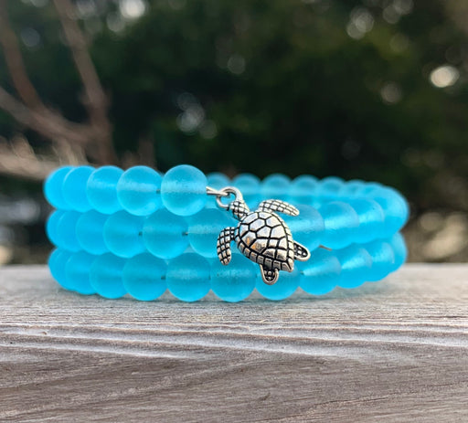 Caribbean Blue Tumbled Sea Glass Beads with Sea Turtle Honu Bracelet