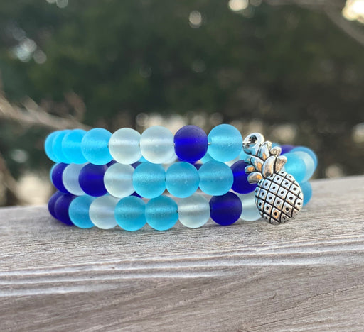 Ocean Blues Tumbled Sea Glass Beads with Pineapple Charm