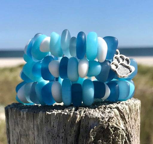 Soft Blues Worn Denim Hues Sea Glass Wrap Bracelet by Wave of Life