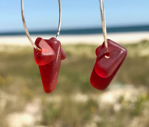 Red Sea Glass Frosted Hoop Earrings by Wave of Life