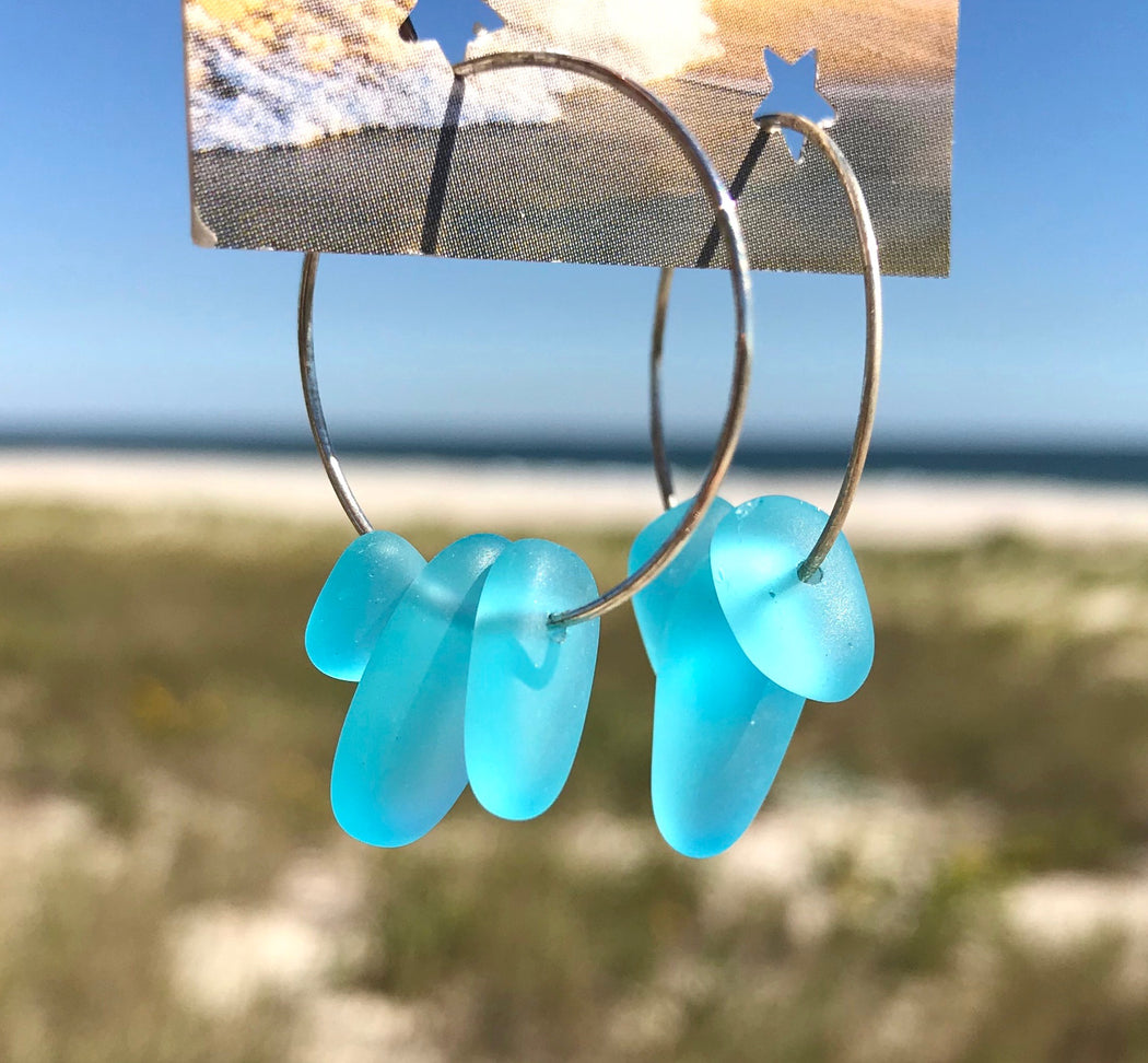 Caribbean Blue Sea Glass Frosted Earrings Hoop by Wave of Life