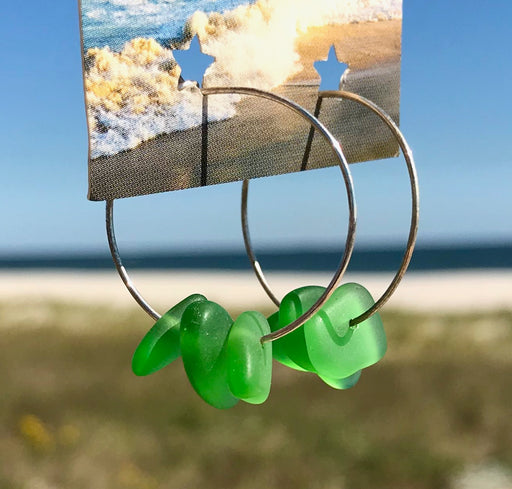 Light Green Sea Glass Frosted Hoop Earrings by Wave of Life