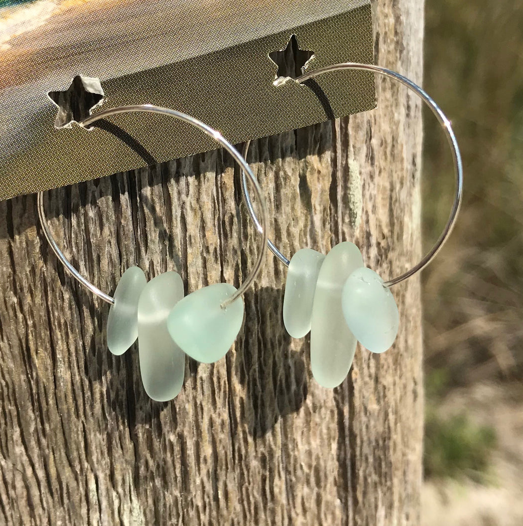 Pale Aqua Sea Glass Frosted Hoop Earrings by Wave of Life