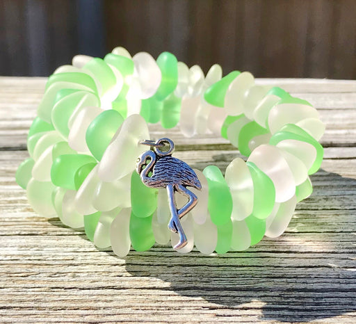 Flamingo Charm Sea Glass Blossom Pink, Light Green Clear Wrap Bracelet by Wave of Life