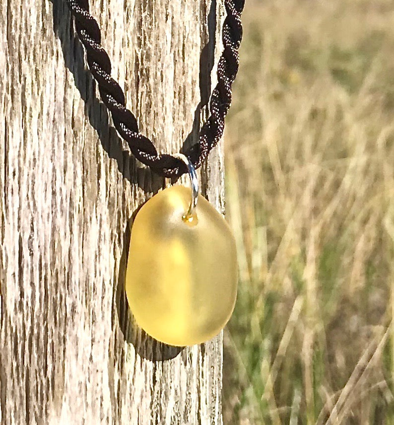 Lemon Yellow Sea Glass Nugget Necklace by Wave of Life