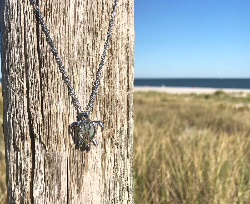 Sea Glass Turtle Locket Necklace with Sea Glass by Wave of Life
