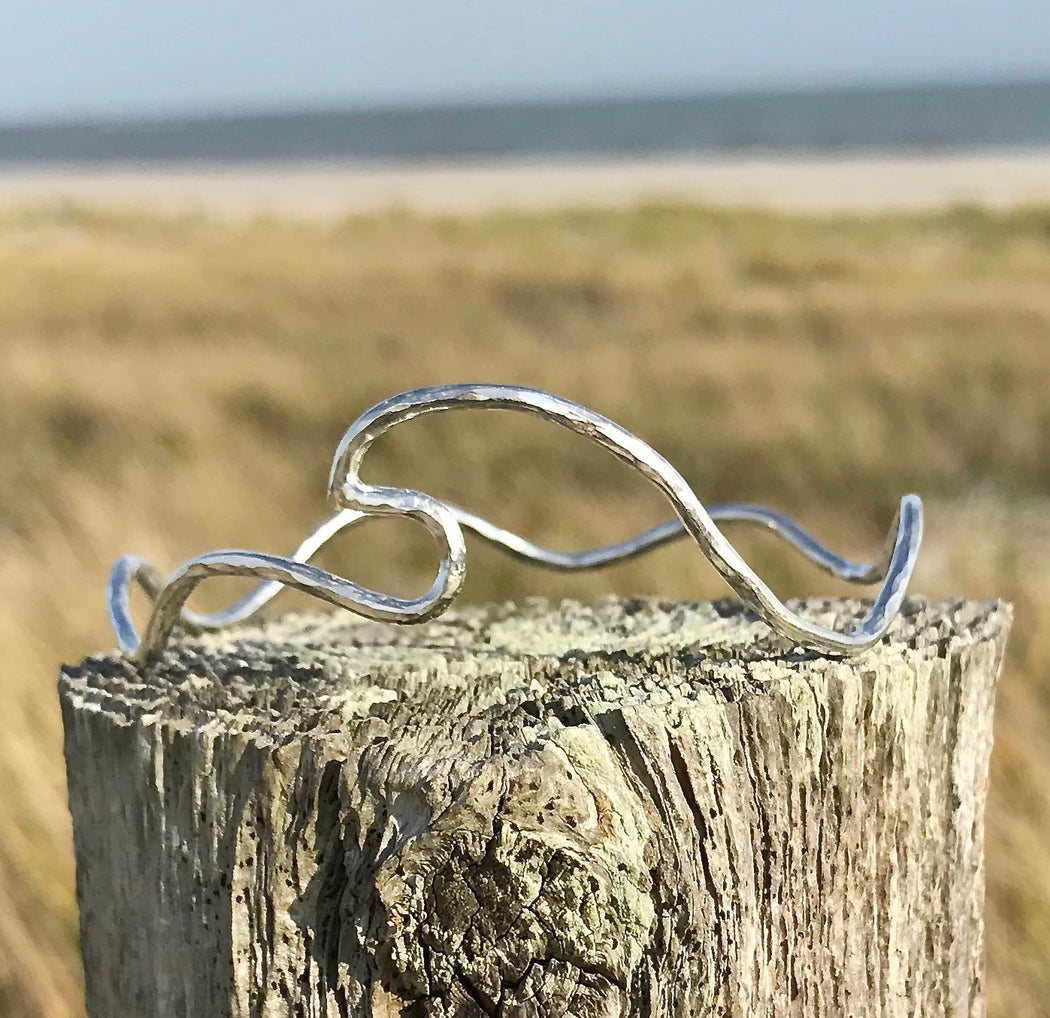 Sterling Wave of Life Ocean Seas Bangle Bracelet by Wave of Life