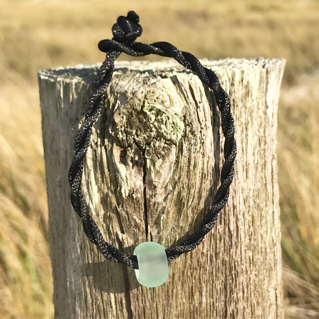 Sea Glass Sea Bead Bracelet Silk Cotton Cording by Wave of Life