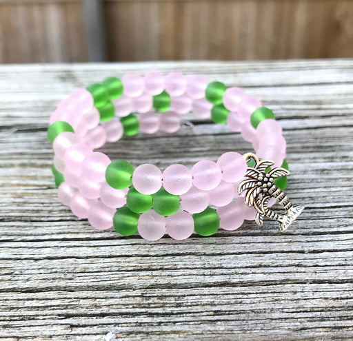 Pale Pink and Light Green Tumbled Sea Glass Beads Wrap Bracelet with Palm Tree Charm by Wave of Life