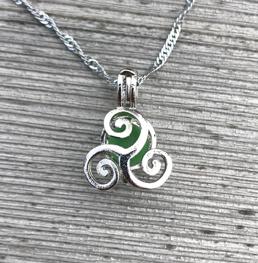 Curling Waves Locket Necklace with Sea Glass Choose Your Color by Wave of Life