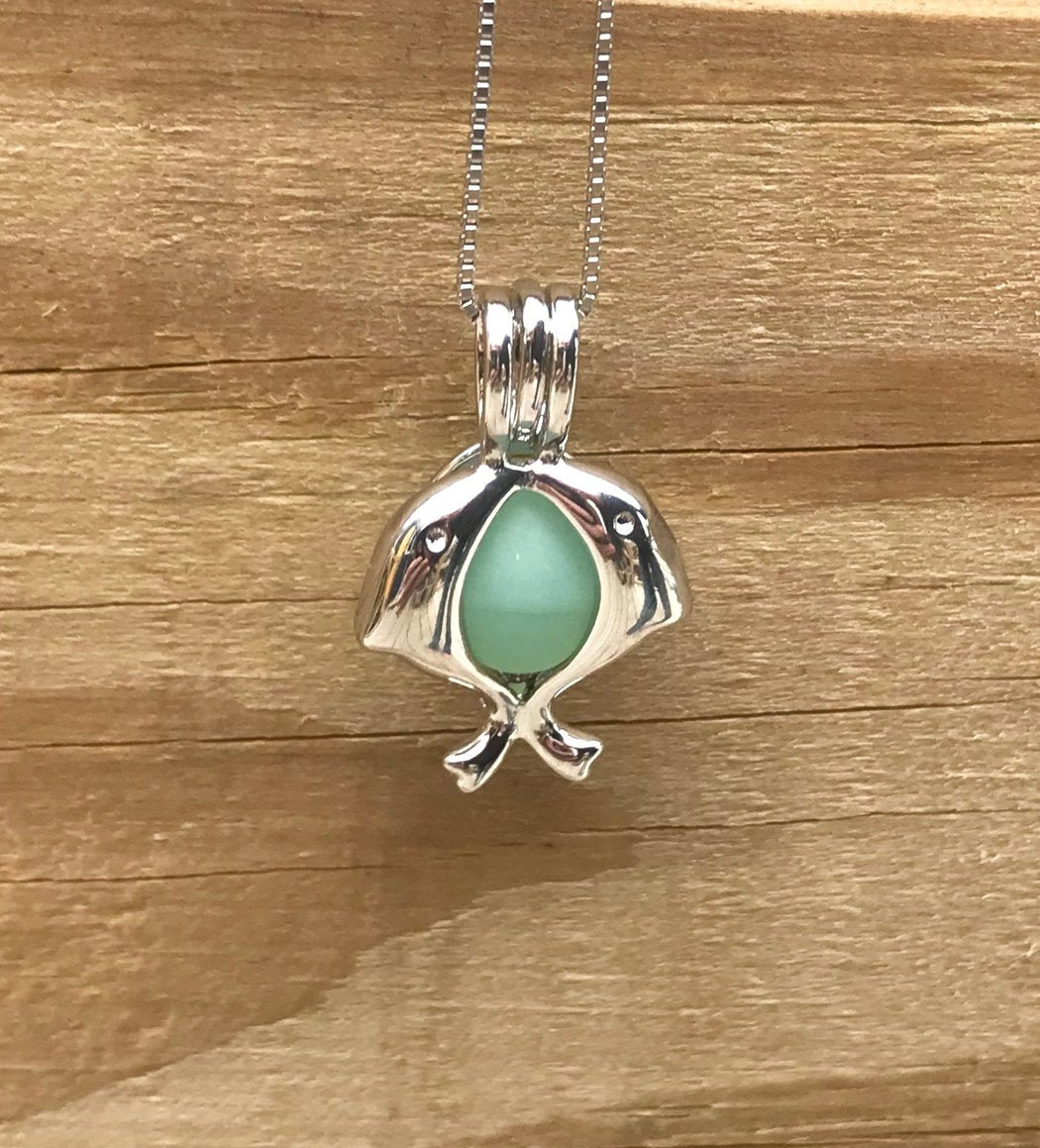 Jumping Dolphins Locket Necklace with Single Piece Sea Glass in Sterling Silver by Wave of Life