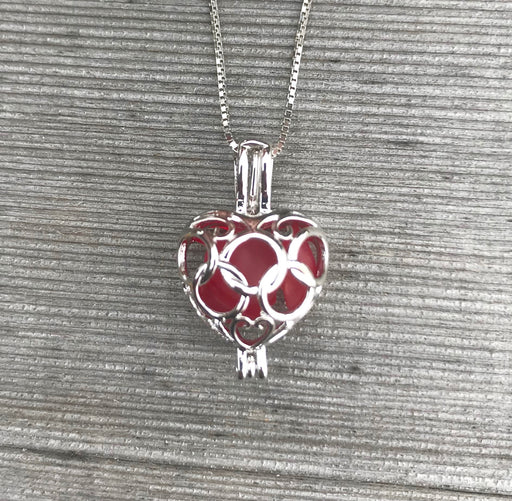 Heart Locket Necklace with Sea Glass in Sterling Silver by Wave of Life
