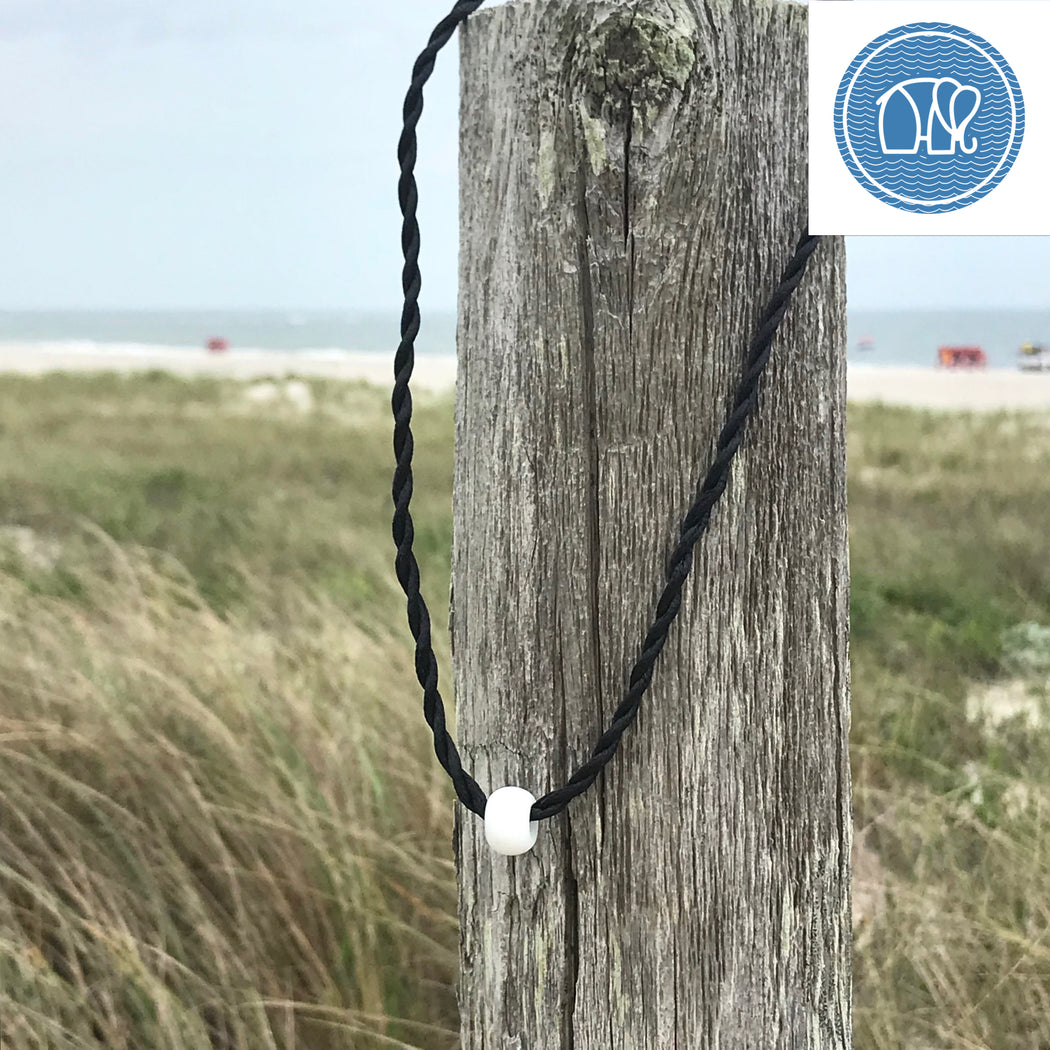Frosted Glass Sea Bead Necklace in White and Black  by Wave of Life