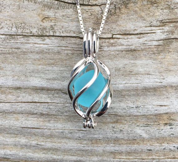 Swirling Seas Sea Glass Locket Necklace by Wave of Life