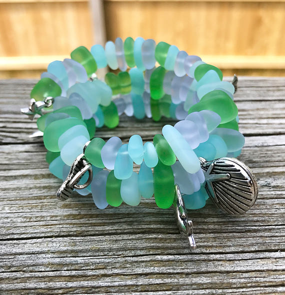 Soft Pastels Multiple Charms Pale Purple Light Blue Green Sea Glass Wrap Bracelet by Wave of Life