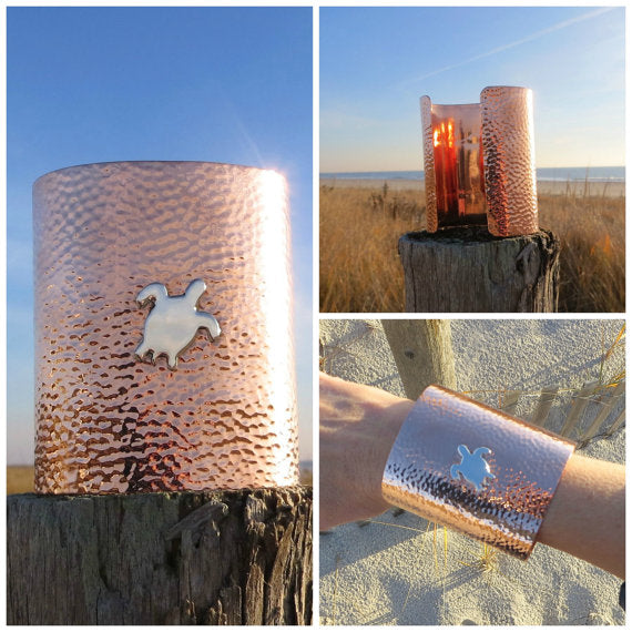 Copper Sea Turtle Cuff Honu Bracelet Hammered by Wave of Life