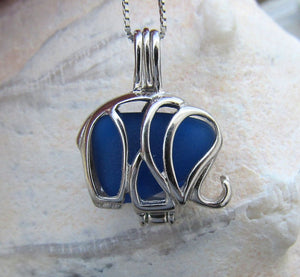 Elephant Locket Necklace Cobalt Blue Sea Glass by Wave of Life