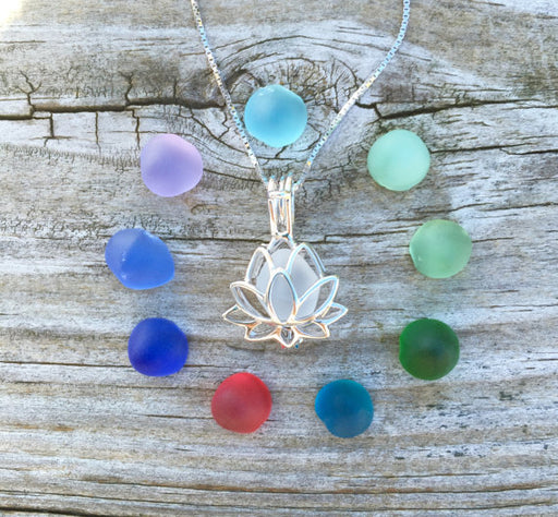 Sea Glass Lotus Locket Necklace 10 Color Set by Wave of Life