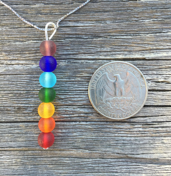 Chakra Sea Glass Bead Pendant Necklace by Wave of Life